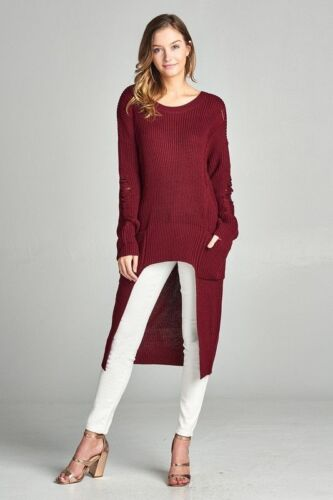 Warm Distressed Knit Long Hi Lo Sweater Chunky Knit Pockets Pullover Loose Warm