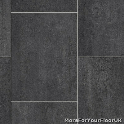 Black / Grey Tile Quality Vinyl Flooring 3m / 4m Hardwearing Lino, 3.6mm Thick