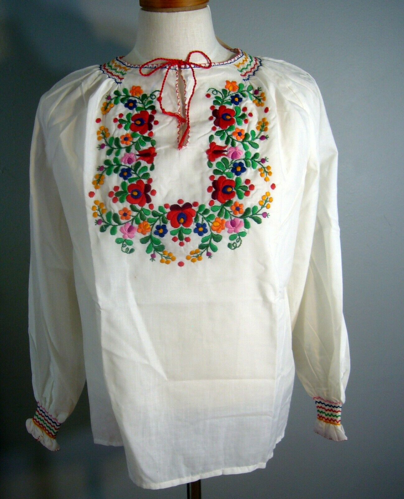 NOS 1950-70s Hand Embroidered Hungarian Gauze She… - image 1