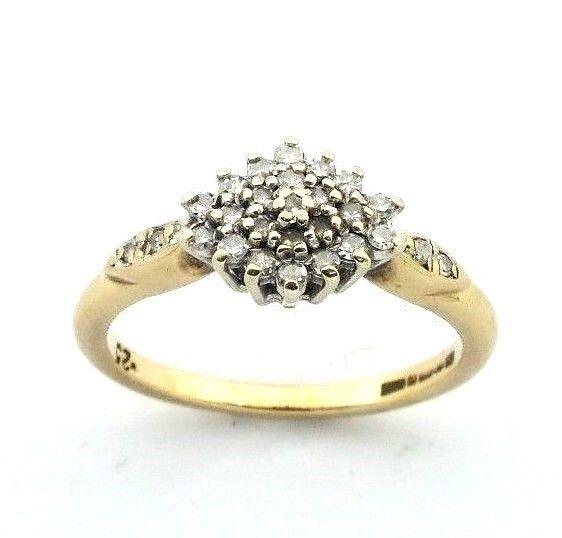 Wouomo Donna 9ct oro Giallo 9 9 9 carati anello di diamanti Cluster UK N d91783
