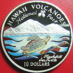 1997-COOK-ISLANDS-10-SILVER-PROOF-COLORED-HAWKSBILL-SEA-TURTLE-HAWAII-VOLCANOES