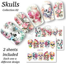 2x Full Cover Nail Art Water Stickers Wraps Transfers Skulls Day of Dead BN189