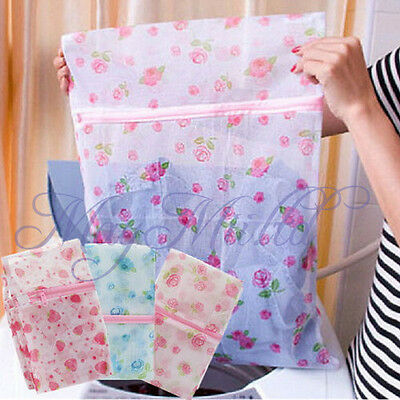 Floral Clothes Bra Underwear Socks Zipper Washing Laundry Bag Mesh  Convenient Z