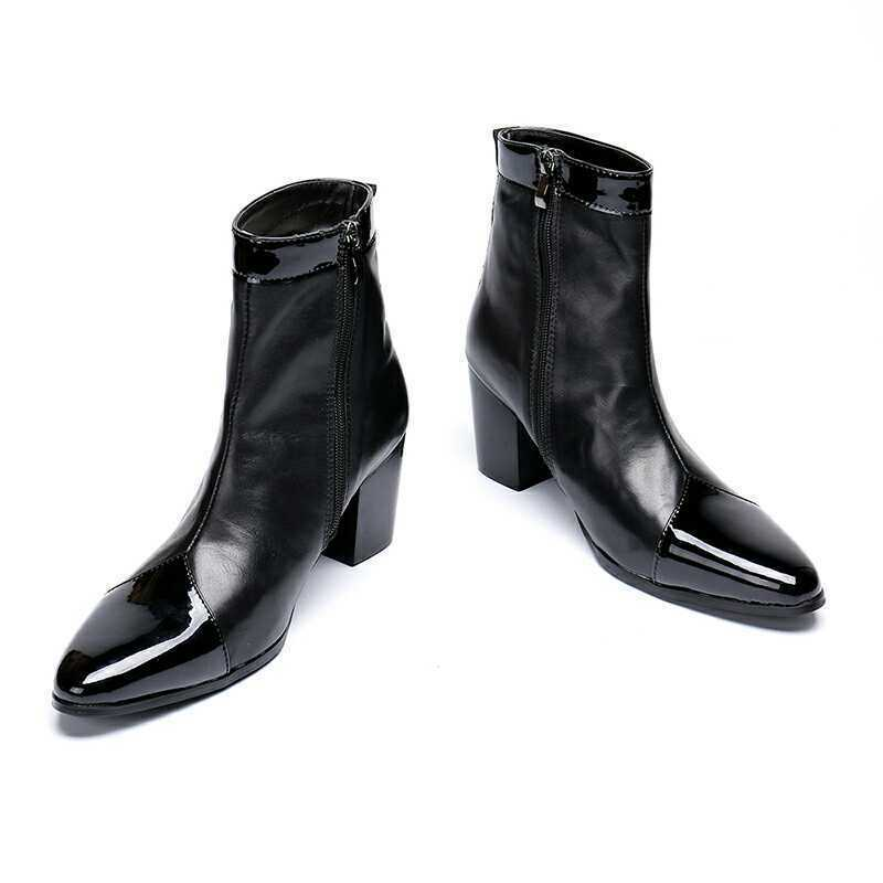 Men Leather Business zipper Block Heels Ankle Boot Formal Winter Punk shoes