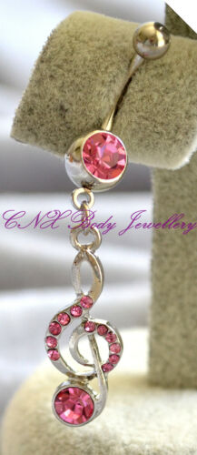 316L Surgical Steel Dangling Pink Crystal Music Note Navel Bar Belly Ring