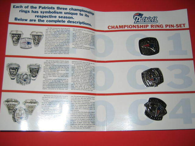 NEW ENGLAND PATRIOTS CHAMPIONSHIP RING PIN-SET FOR YEARS ...