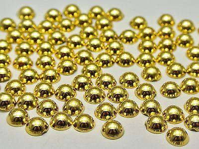 500 Metallic Gold Flatback Round Half Pearl 6mm Scrapbook Nail Art Craft