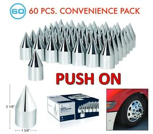 """Set//60 4-1//8/"""" Long Chrome Spike Lug Nut Covers 1-1//2/"""" Push-On 60-Pack"""