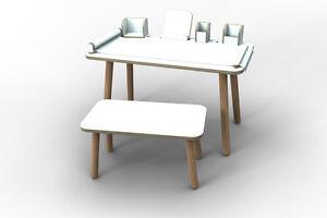 Set-COMPLETO-TAVOLO-BANCA-strumenti-034-Growing-table-034-di-pure-posizione-Bianco-Nuovo
