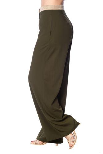 taille vêtements du jambe rétro le pantalon 40 Nil années des Khaki bannis large haute sur aqEwUC