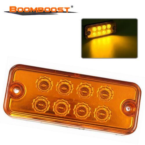 Car Truck Trailer DC 24V Side Marker 8 LED Amber Yellow Waterproof Light Lamp