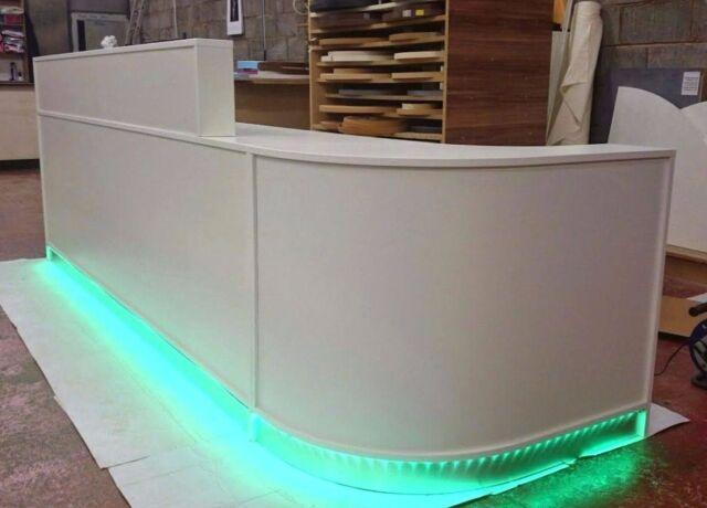 White Reception Desk New Led Lights Free Delivery Salon Dental Practice