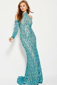 JOVANI-58376-PROM-TEAL-BLUE-GREEN-COLD-SHOULDER-SLEEVES-MOTHERS-PAGEANT-SIZE-2