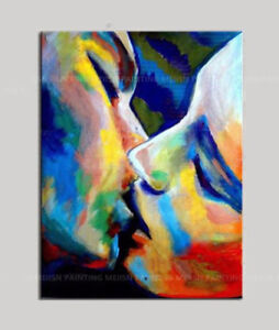 Details About Zwop263 Abstract Multi Color Face Lover Kiss Wall Art Oil Painting On Canvas