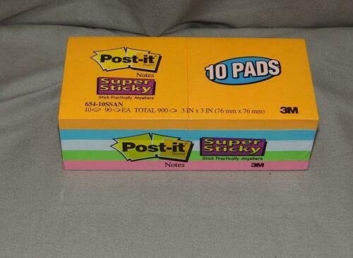 Post-it 654-10SSAN Super Sticky Notes Qty 10 pads  3 X 3 Pads  90 sheets per pad