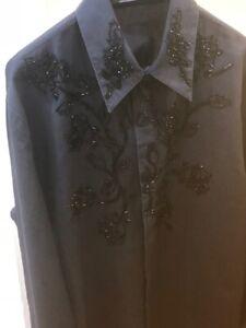 migliore a buon mercato b6681 99272 Dettagli su versace camicia vintage uomo ricamata con strass nere.taglia 50  - L