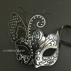 9ac5cea50575 Image is loading Venetian-Masquerade-Women-Black-Silver-Glitter-Butterfly -Elaborate-