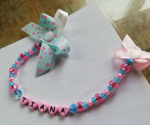 personalised bow dummy clip  for girls with or without mam adapter