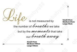 Life Is Not Measured Wall Quotes Decals Removable Stickers Decor
