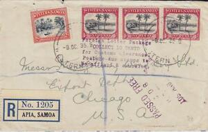 Samoa SG#182,#181(x3)-APIA 8/OC/35-Registered(label)Commercial Use to USA