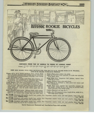 1919 PAPER AD 2 Page Rev-O-Noc Rookie Bicycle OVB Our Very Best COLOR