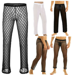Men/'s Thin Mesh Pants Fishnet Hollow Out Underpants Homewear Trousers Mesh Pants