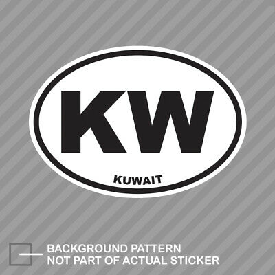 Kuwait Oval Sticker Decal Vinyl Kuwati Country Code euro KW v2