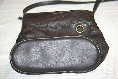 braune Patchwork Leder Tasche Schultertasche Henkeltasche Ledertasche
