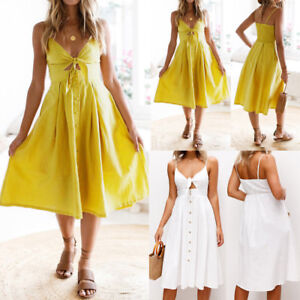 Summer-Women-Holiday-Bowknot-Lace-Up-Ladies-Summer-Beach-Buttons-Party-Dress-Hoc