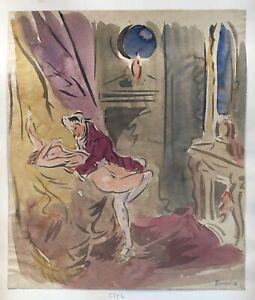 Franz-naager-1870-1942-Erotic-Scene-2-acts-expressive-linolschnitt-Munich