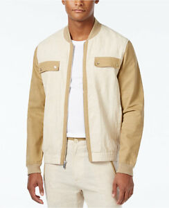 Sean-John-Men-039-s-Khaki-Stripe-Lightweight-Linen-Blend-Colorblocked-Bomber-Jacket