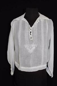 RARE-FRENCH-EDWARDIAN-ERA-SHEER-WHITE-COTTON-EMBROIDERED-BLOUSE-SIZE-38