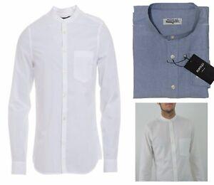 Para-Hombres-Camisa-Blanca-Manga-larga-Cuello-Abuelo-Regular-Fit-Algodon-Tops-Reino-Unido-S-XXL