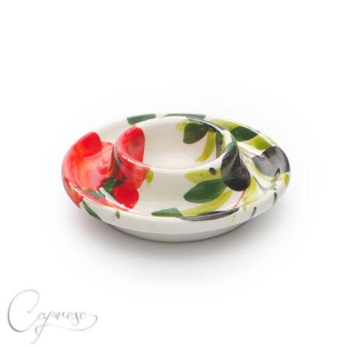 BASSANO Céramique COQUETIER tomates avec olive motif 2,5 cm de haut NEUF