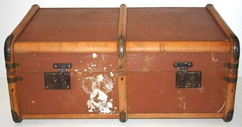 Antique Wood Bound Smer Travel Trunk Chest Coffee Table FREE Shipping 706
