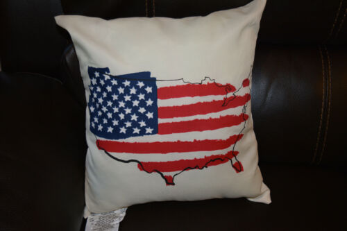 "Outdoor Indoor Toss Throw Pillows 16/"" x 16/"" American Flag Patriotic MADE USA"