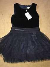 Alberta Ferretti Stuuning Navy Blue Velvet & Net Occasion Dress Age 8/9 £188.50