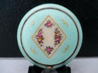 Vintage Guilloche Green Double Compact w/  gold and hand painted Flowers on Lid