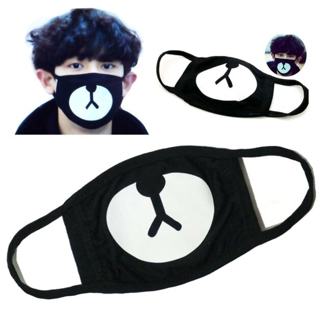 Fashion Ayo and Teo Face Mask panda bape mask bear mouth black bw