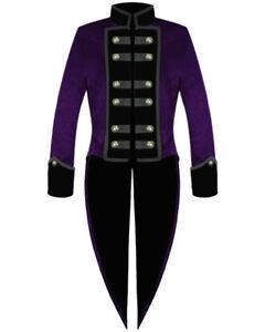 Men-039-s-Gothic-Tailcoat-Jacket-Purple-Steampunk-VTG-Victorian