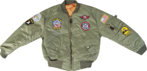 Kid's MA1  Combat Olive Green Flight Jacket Military S