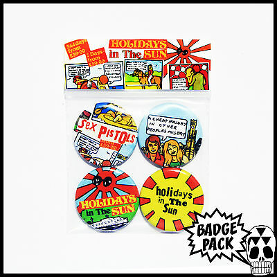 Sex Pistols - Holidays in the Sun Button Badge Pack - 4 x 25mm Button Badges