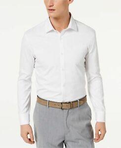 $145 RYAN SEACREST Men SLIM-FIT STRETCH WHITE LONG-SLEEVE DRESS SHIRT 15 32//33 M