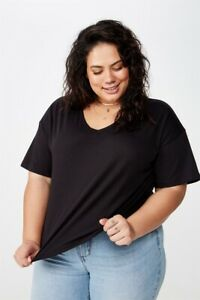 Cotton On Womens Curve Relaxed V Neck Tee Curve  In  Black