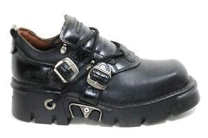 592 Scarpe Uomo Pelle Fibbia 90er Gotico Pelle Boots New Rock Originale 44