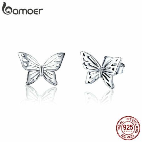 BAMOER 925 Sterling Silber Emaille Ohrringe Hohl Schmetterling Frauen Schmuck