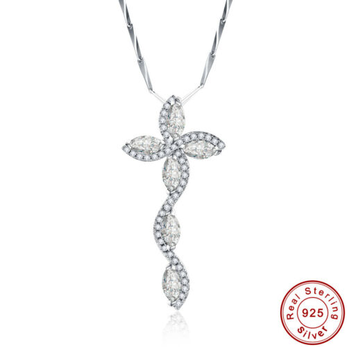 12.9CT Bridal White Topaz 100/% 925 Sterling Silver Leaves Chain Necklace Pendant