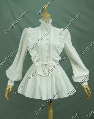 Make an Easy Victorian Costume Dress with a Skirt and Blouse    Victorian Lolita Women Vintage White Cotton Blouse Shirt Steampunk Ghost B005 $49.95 AT vintagedancer.com