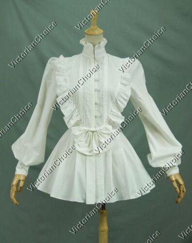 Victorian Inspired Womens Clothing   Victorian Romantic Lolita Women White Blouse Shirt Punk Steampunk Costume  B005 $49.99 AT vintagedancer.com