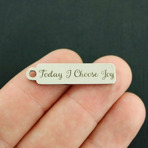 DROP063 Quantity Options Today I Choose Joy Charm Stainless Steel Bar